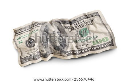 crumpled one hundred dollar bills isolated on white background  - stock photo