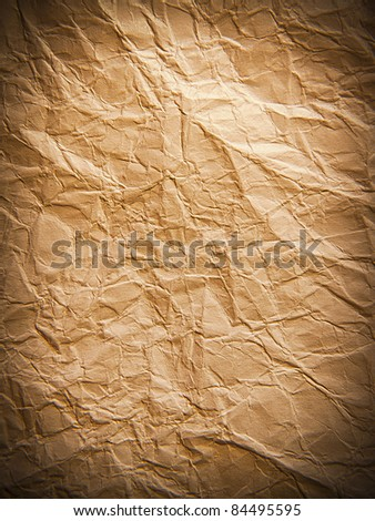 Crumpled page of vintage paper texture - stock photo