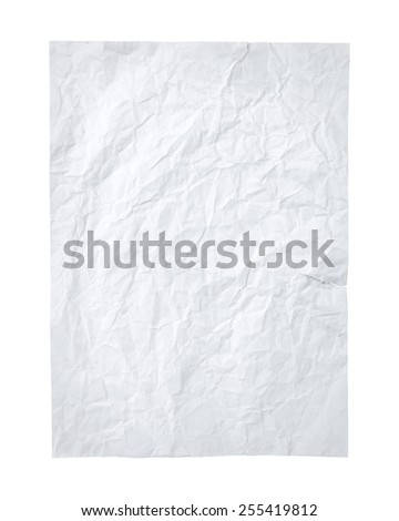 Crumpled paper A4 size isolated white background. - stock photo