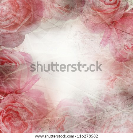 Crumpled paper background with roses - stock photo