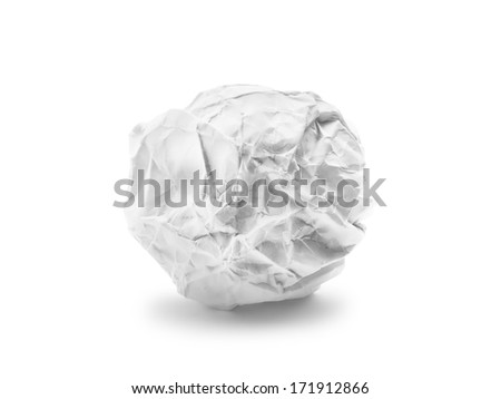 Crumpled paper ball isolated on white background - stock photo