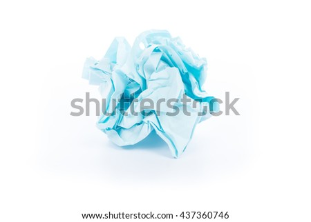 Crumpled paper ball of receipt on white background