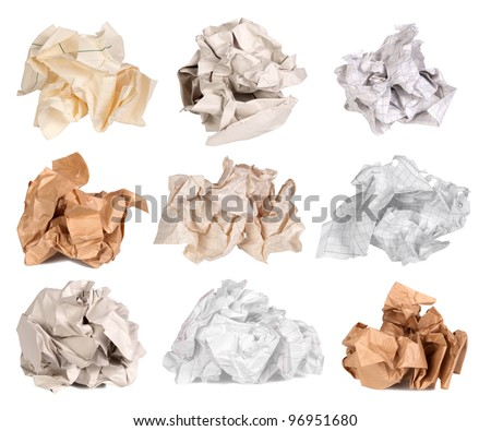 Crumpled paper balls isolated on white - stock photo