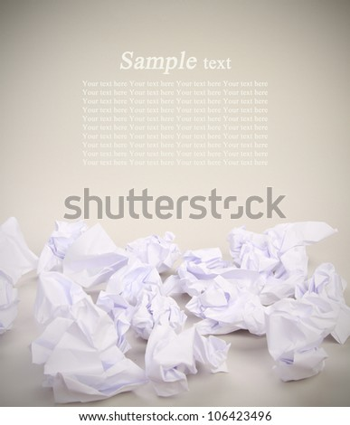 crumpled paper balls with place for sample text - stock photo
