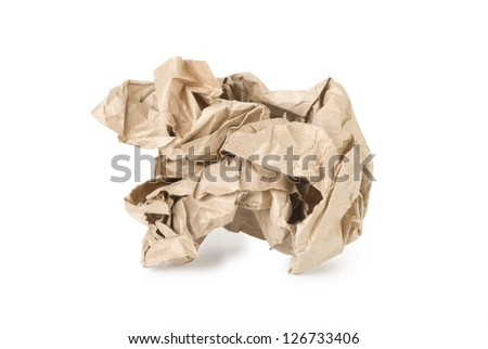 Crumpled paper from recycled materials or white background - stock photo