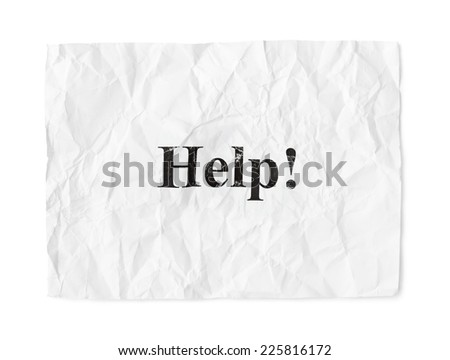 Crumpled paper Help isolated isolated on white background - stock photo