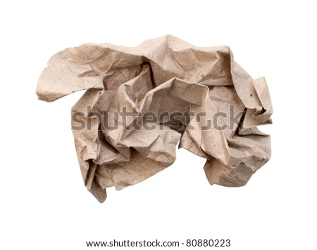 Crumpled paper isolated over white - stock photo