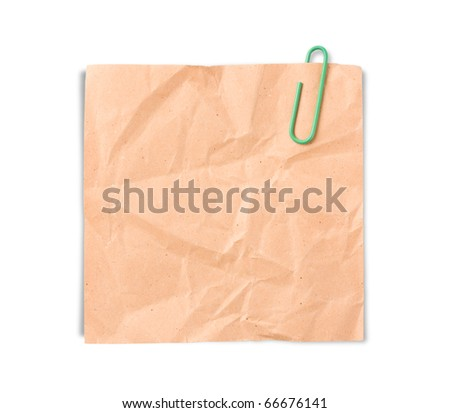 Crumpled paper notes with green clip - stock photo