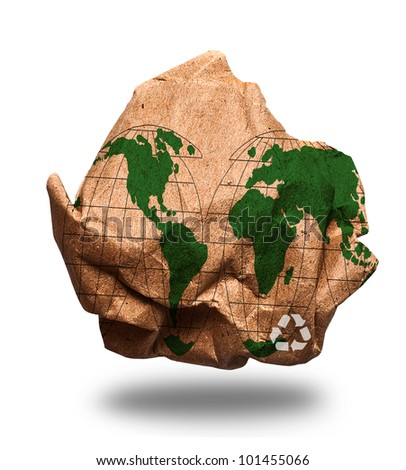 Crumpled paper recycling  and map of the world on white background ,concept of saving energy - stock photo