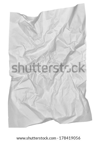 Crumpled paper sheet isolated on white background  - stock photo