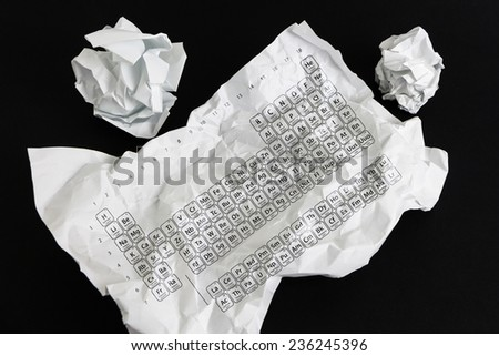 Crumpled paper sheet with Periodic Table  isolated on black - stock photo