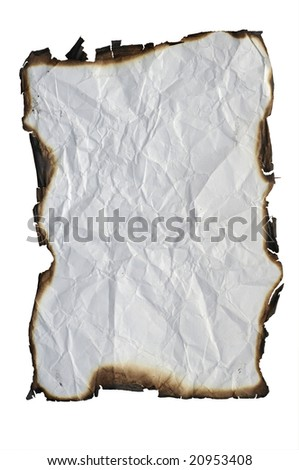 crumpled paper with charred edges