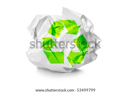 crumpled paper with recycling symbol - stock photo