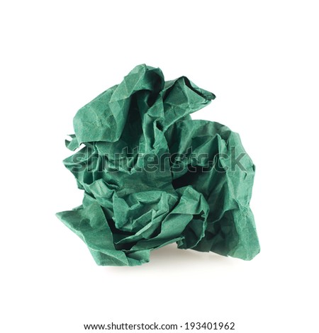 Crumpled piece of green colored paper, isolated over the white background