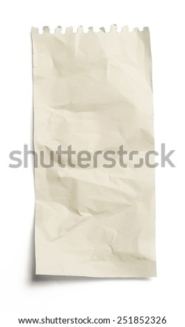 crumpled piece of paper on white background - stock photo
