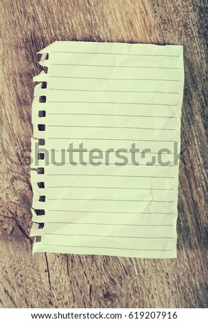 Crumpled sheet notebook line on table