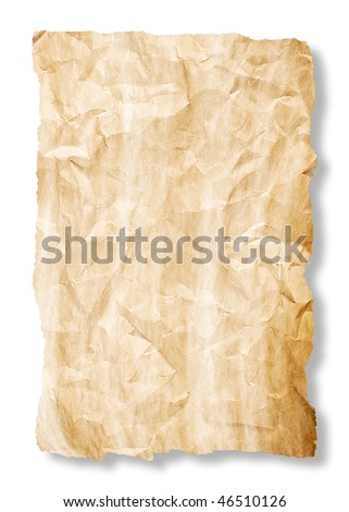 crumpled sheet of yellow old paper with rich detail and torn edges dropping shadow on white background
