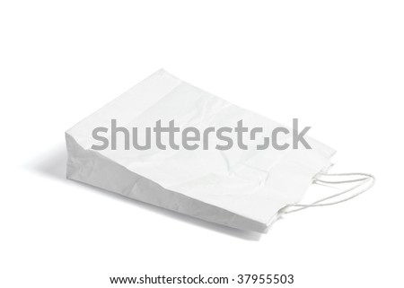 Crumpled Shopping Bag on White Background