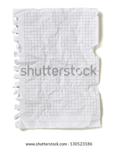 Crumpled squared sheet of paper isolated on white background - stock photo
