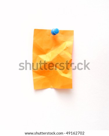 crumpled sticky note isolated on white - stock photo