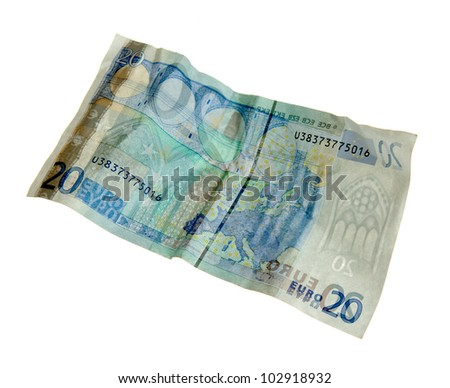 Crumpled twenty euro banknote on white background. Transparently  seen the other side - stock photo