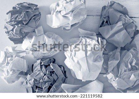 crumpled up paper wads - stock photo