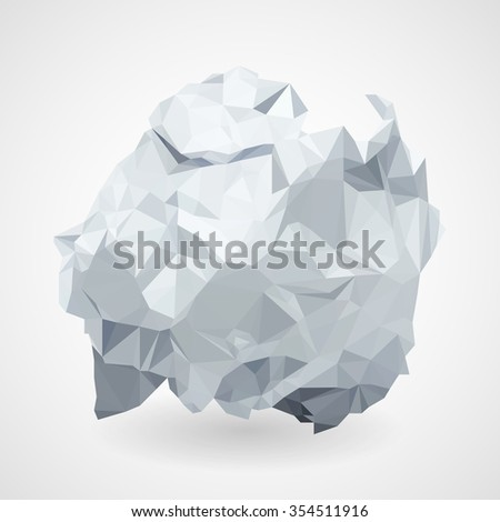Crumpled white paper in the style of triangulation on a grey background. Rasterized Copy - stock photo
