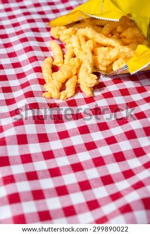 Crunchy cheese snacks - stock photo
