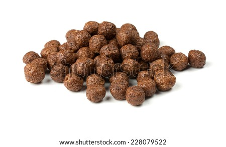 crunchy chocolate balls on a white background - stock photo