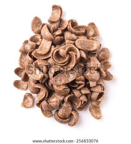 Crunchy chocolate breakfast cereal over white background