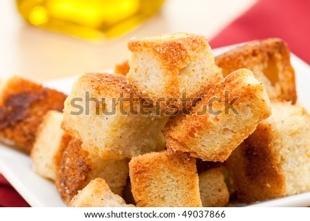 Crunchy delicious homemade sourdough bread croutons