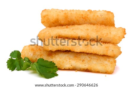 crunchy fish sticks with cilantro isolated on white  - stock photo