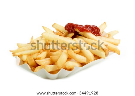 Crunchy French Fries on a paper plate with bright background - stock photo