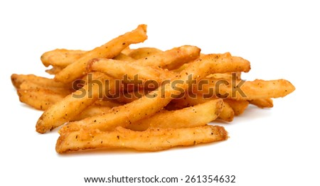 crunchy French fries on white background  - stock photo