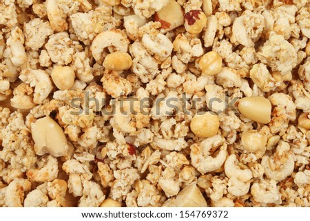 crunchy nut cluster cereal as a background and texture