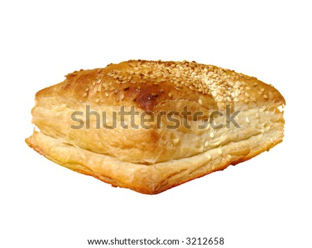 Crunchy pastry with sesame isolated over white background (clipping path included)