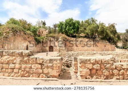 Crusader Farmhouse Ruins - Aqua Bella Springs near Jerusalem - stock photo