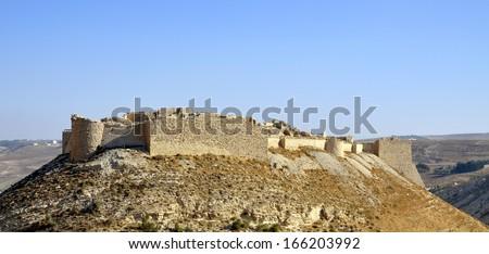 Crusader fortress Shobak in Jordan. - stock photo