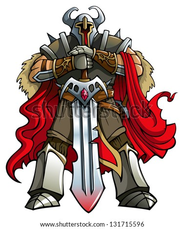 Crusader knight with huge sword, hi-res raster from vector illustration - stock photo