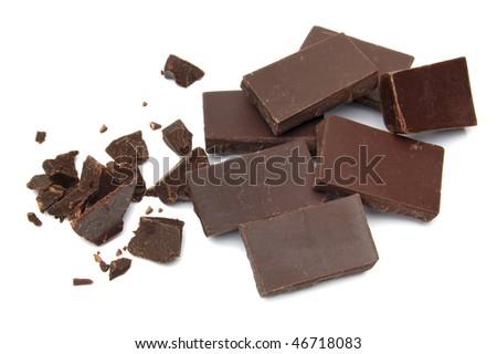 Crushed black chocolate on white background - stock photo