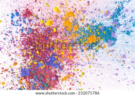 crushed bright eyeshadow. colorful set. cosmetic concept  - stock photo