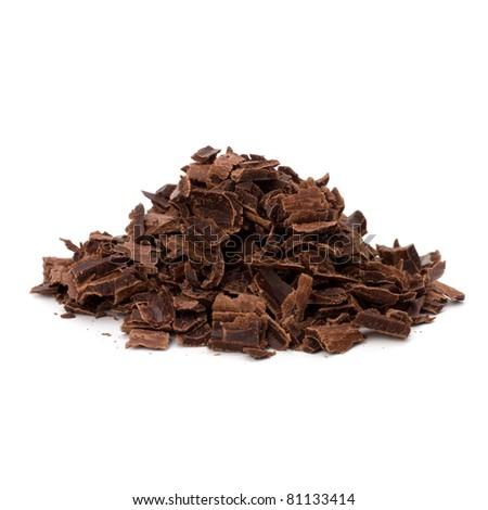Crushed chocolate shavings pile isolated on white background - stock photo