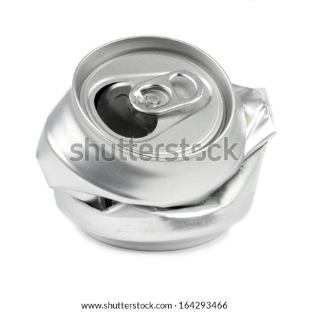 Crushed drink cans on white background. - stock photo