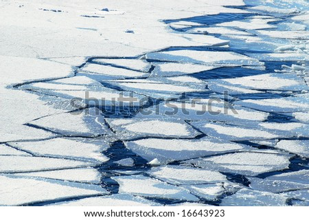 Crushed ice floes in Antarctica - stock photo
