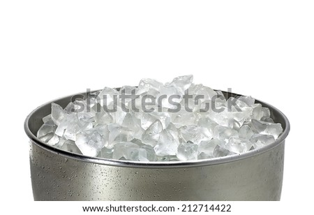 Crushed ice in bucket on white background - stock photo