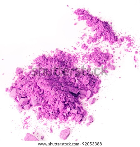 Crushed makeup on white background. The eye shadows.