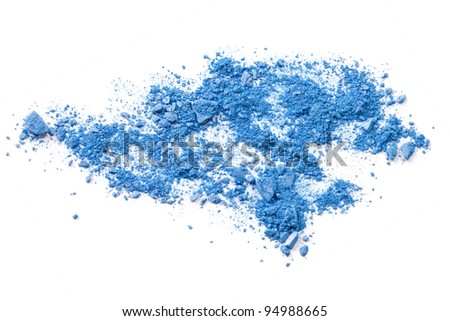 Crushed makeup on white background. The eye shadows. - stock photo