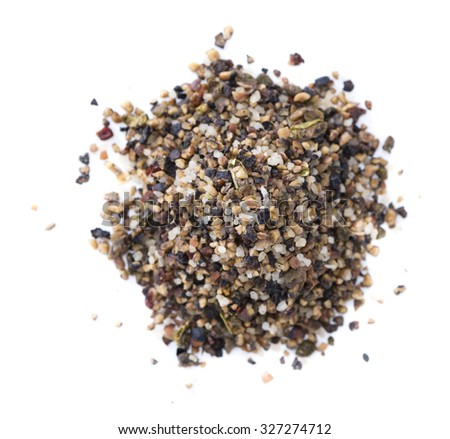Crushed Peppercorns with different spices and salt isolated on white background - stock photo