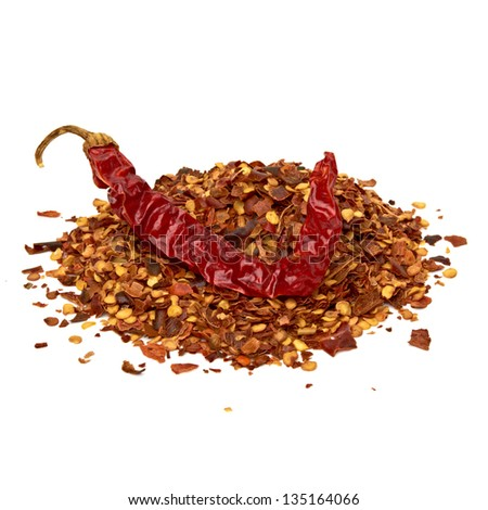 Crushed red pepper pile on white background