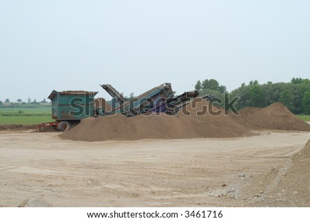 crusher used for grinding stone at quarry in southwestern  Ontario - stock photo